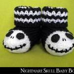 Nightmare Skull Baby Booties Knitti..
