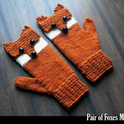 Pair of Foxes Mittens for the Famil..