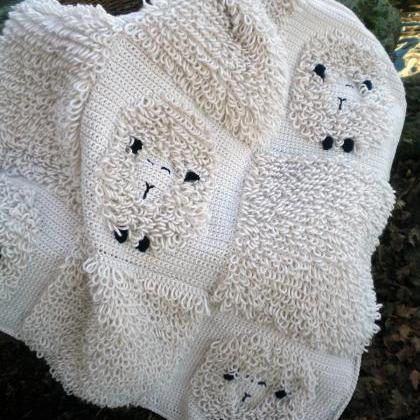 Sleepy Sheep Baby Blanket Crochet P..