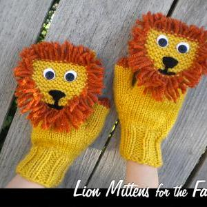 Lion Mittens for the Family Knittin..