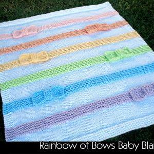 Rainbow of Bow Baby Blanket Knittin..