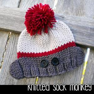 Knitted Sock Monkey Hat for the Fam..