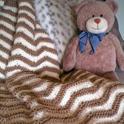 Zigzag Stripes Baby Blanket Knittin..