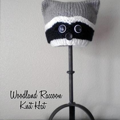 Woodland Raccoon Hat Knitting Patte..