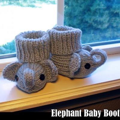 Elephant Baby Booties Knitting Pattern