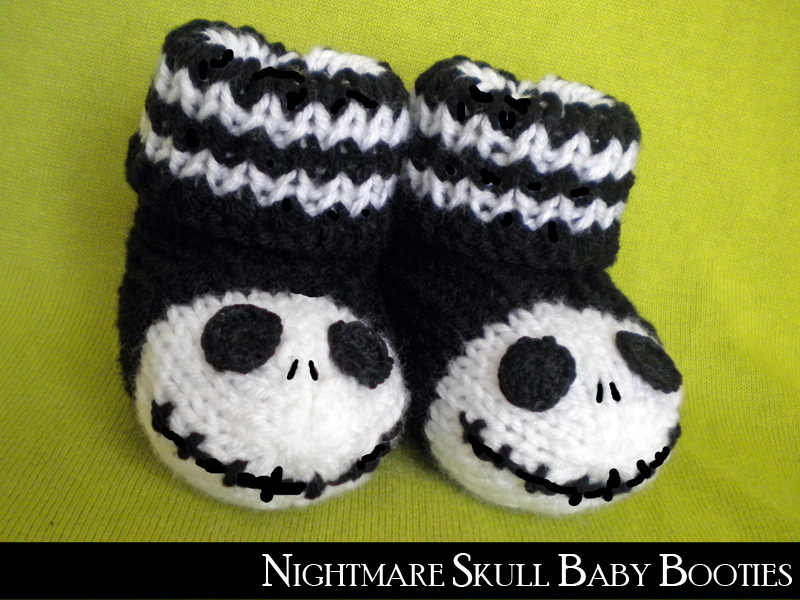 Nightmare Skull Baby Booties Knitting Pattern on Luulla