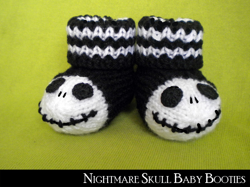 Nightmare skull baby booties knitting pattern on luulla dt1010fo
