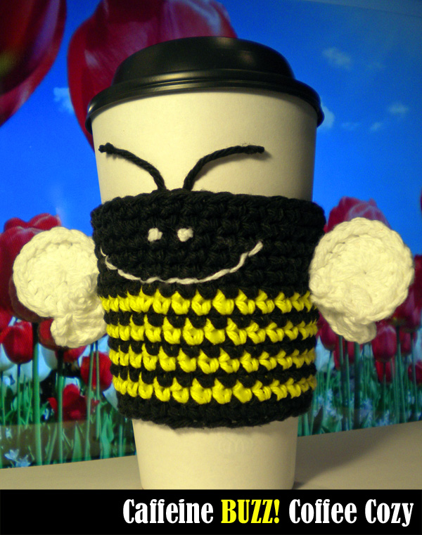 Caffeine BUZZ! Coffee Cozy Crochet Pattern