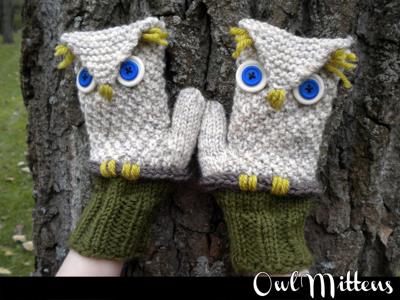 Owl Mittens Knitting Pattern on Luulla