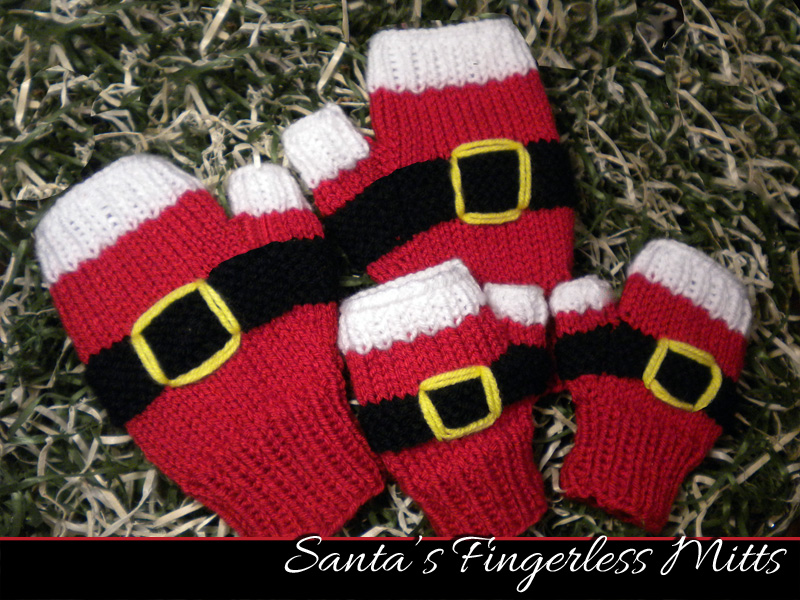 Santas Fingerless Mitts Knitting Pattern On Luulla