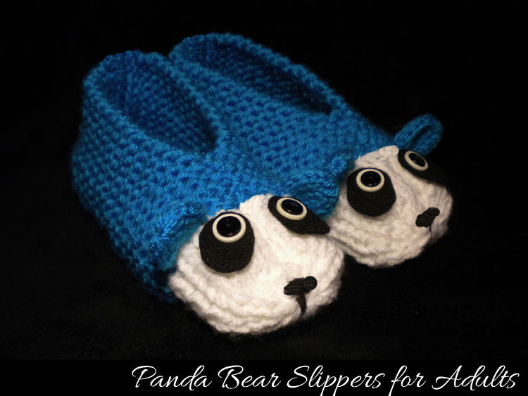 Panda Slippers for Adults - Knitting Pattern