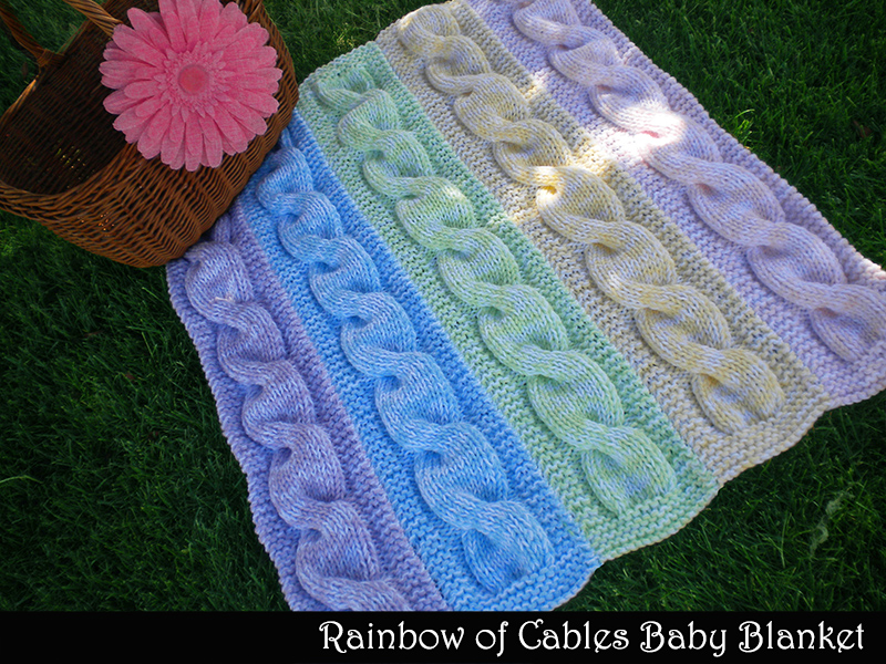 Rainbow Of Cables Baby Blanket Knitting Pattern on Luulla