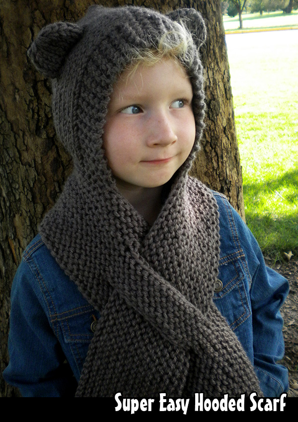 Super Easy Hooded Scarf Knitting Pattern On Luulla