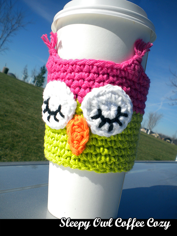 Sleepy Owl Coffee Cozy Crochet Pattern On Luulla