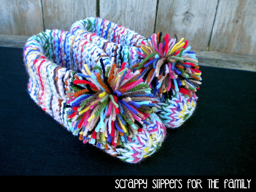 Scrappy Slippers for the Family Knitting Pattern
