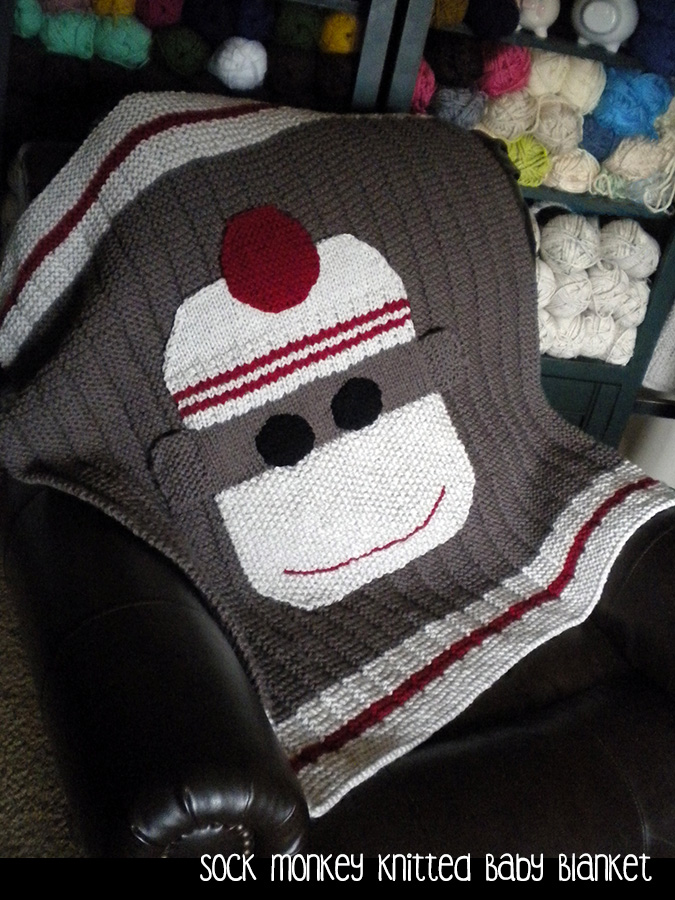 Sock Monkey Knitted Baby Blanket Knitting Pattern On Luulla