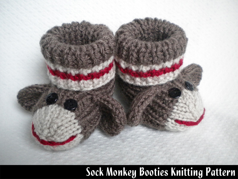 Sock Monkey Baby Booties Knitting Pattern On Luulla