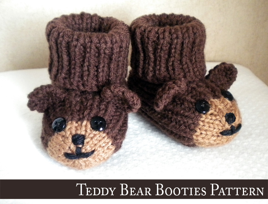 Teddy Bear Baby Booties Knitting Pattern on Luulla
