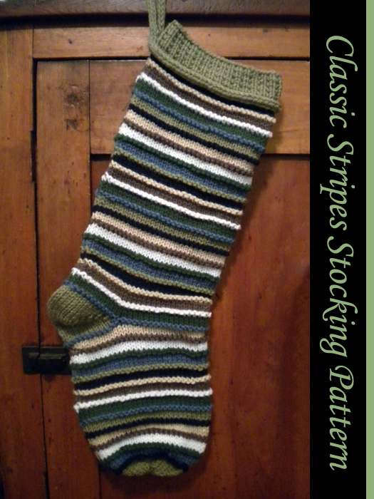 Classic Stripes Christmas Stocking Knitting Pattern