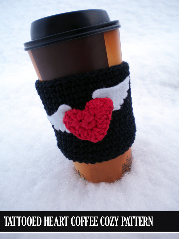 Tattooed Hearts Coffee Cozy Pattern