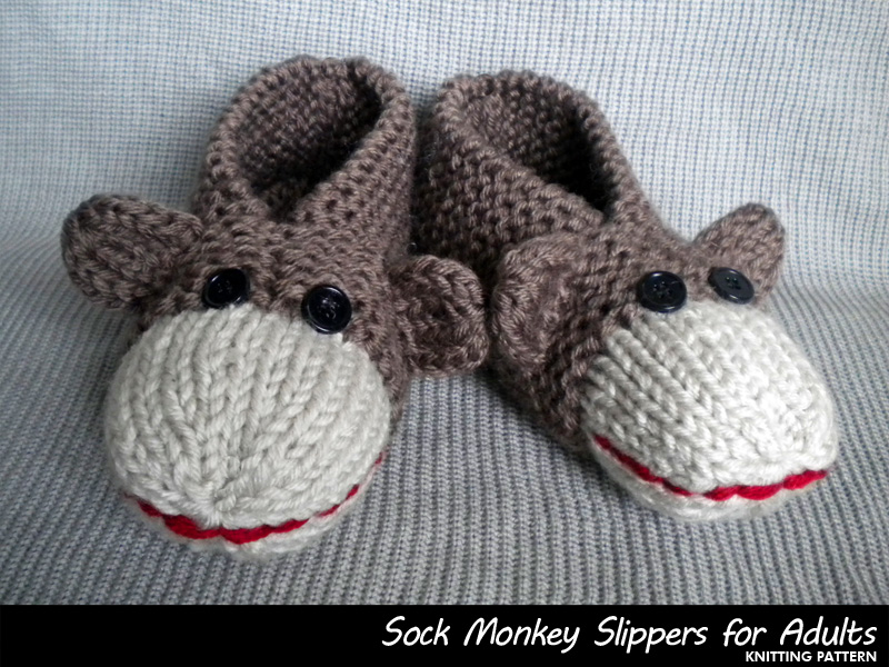 Sock Monkey Slippers For Adults Knitting Pattern On Luulla