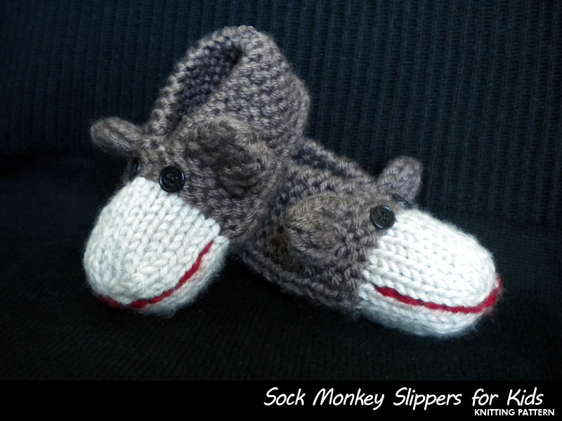 Sock Monkey Slippers For Kids Knitting Pattern On Luulla