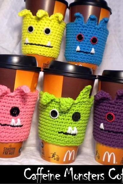 Caffeine Monsters Coffee Cozies Crochet Pattern