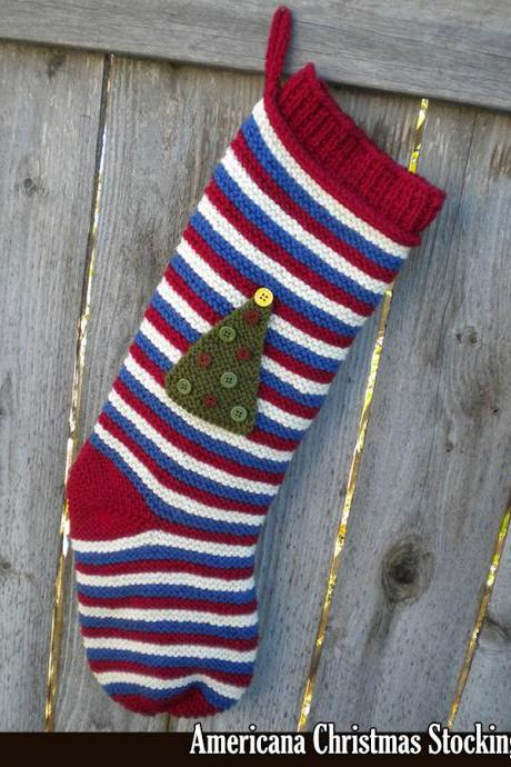 Americana Christmas Stocking Knitting Pattern