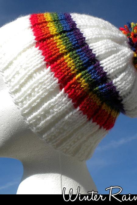 Winter Rainbow Hat Knitting Pattern