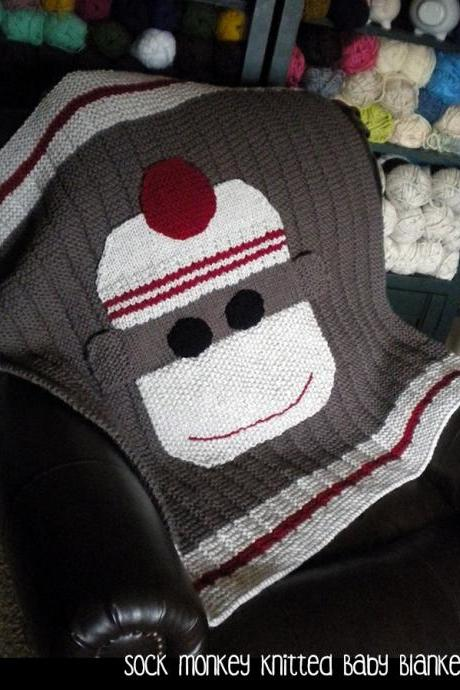Sock Monkey Knitted Baby Blanket Knitting Pattern