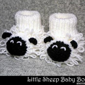 Little Sheep Baby Booties Knitting Pattern
