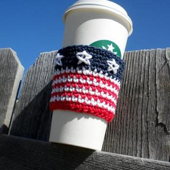 All American Coffee Cozy Crochet Pattern
