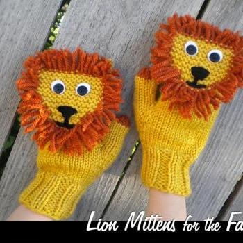 Lion Mittens for the Family Knitting Pattern