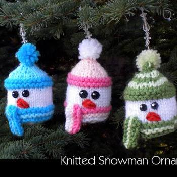 Knitted Snowman Ornament Knitting Pattern