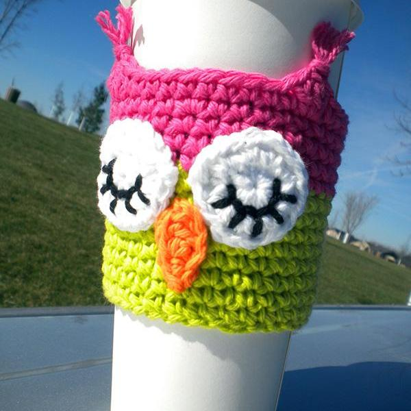 Sleepy Owl Coffee Cozy Crochet Pattern