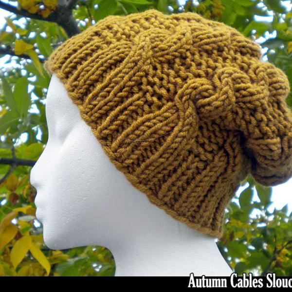Autumn Cables Slouchy Hat Knitting Pattern