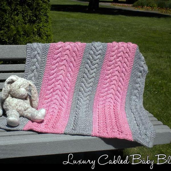 Luxury Cabled Baby Blanket Knitting Pattern