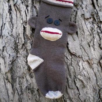 Sock Monkey Christmas Stocking Knitting Pattern